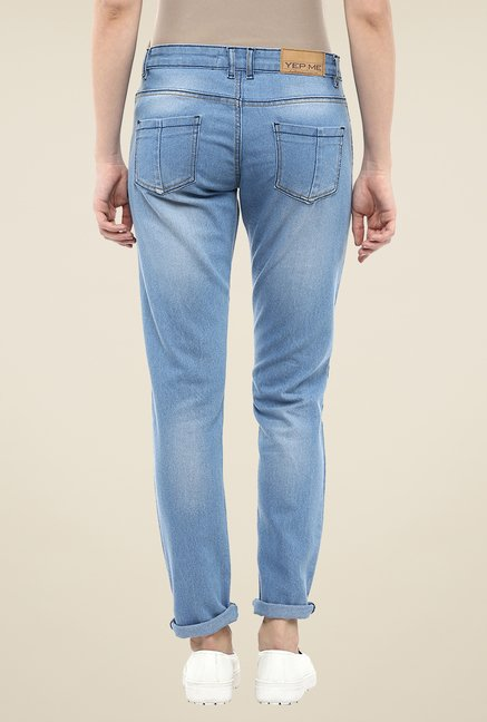 Yepme Blue Tassie Lightly Washed Denim Jeans