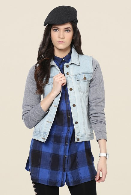 Yepme Light Blue Tiffany Full-sleeved Denim Jacket
