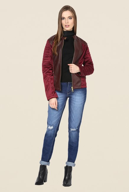 Yepme Maroon Sam Leather Jacket