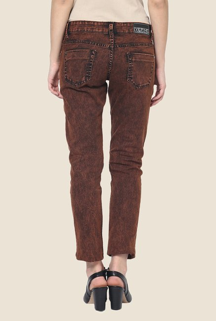 Yepme Brown Victoria Premium Denim Jeans