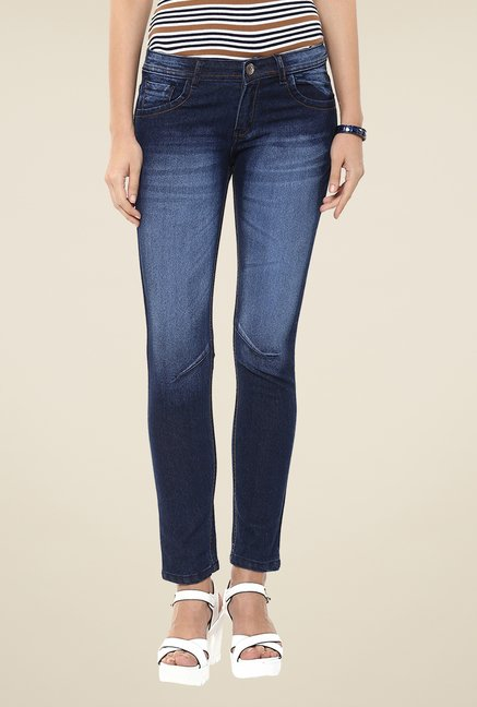 Yepme Blue Heavily Washed Denim Cotton Polyblend Jeans