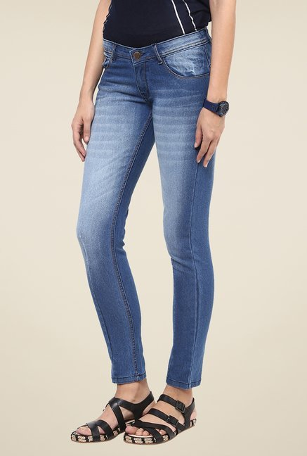 Yepme Blue Heavily Washed Denim Jeans