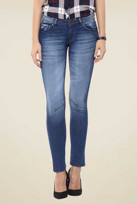 Yepme Blue Lusia Heavilly Washed Denim Jeans