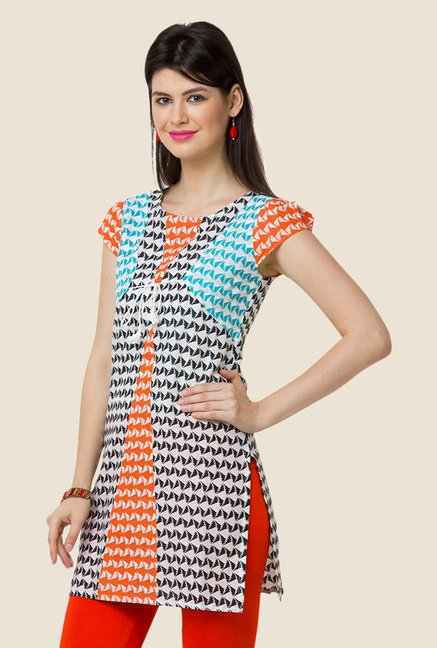 Yepme Eliza Black & Orange Printed Kurti