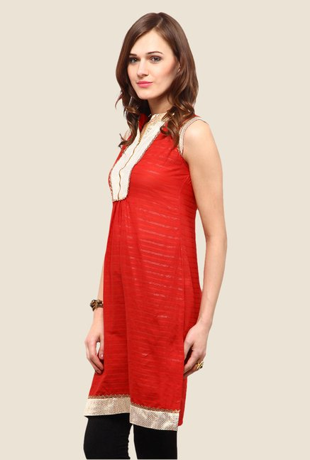 Yepme Jessica Orange & Silver Striped Kurti