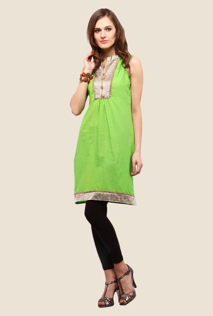 Yepme Jessica Green & Silver Striped Kurti