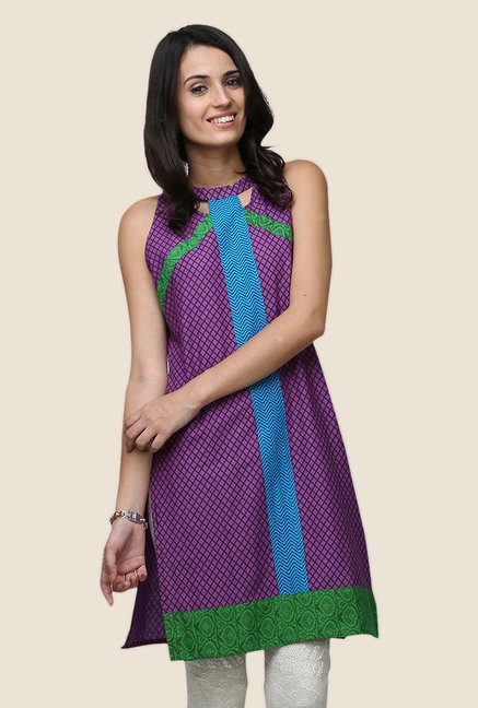 Yepme Ashley Purple Halter Neck Kurti