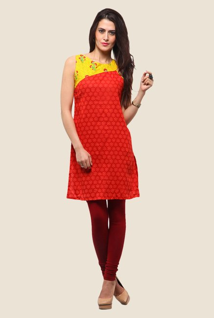 Yepme Lorraine Orange & Yellow Printed Kurti