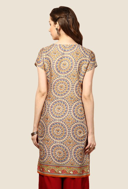 Yepme Beige & Orange Emely Printed Kurti