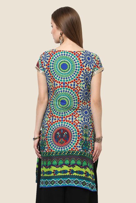 Yepme Blue & Red Slora Printed Kurti