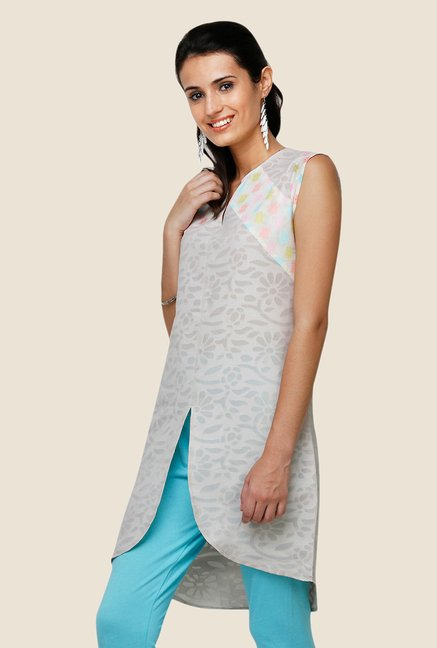 Yepme Laura Light Grey Asymmetrical Kurti
