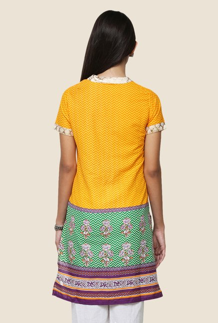 Yepme Vanissa Yellow & Green Printed Kurti