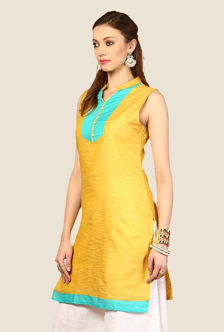 Yepme Yellow Sharlene Animal Print Kurti