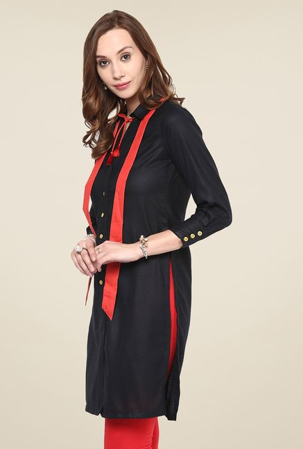 Yepme Black Button Down Kurti