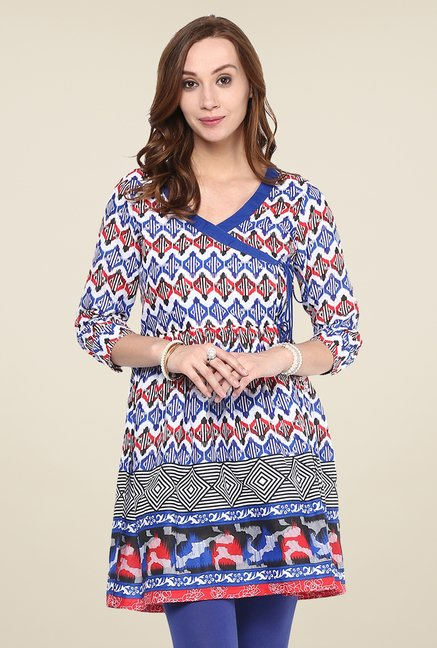 Yepme Blue & Red Printed Kurti