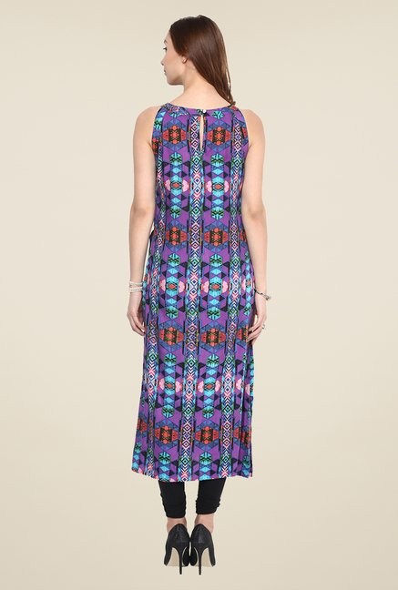 Yepme Purple Long Printed Kurti