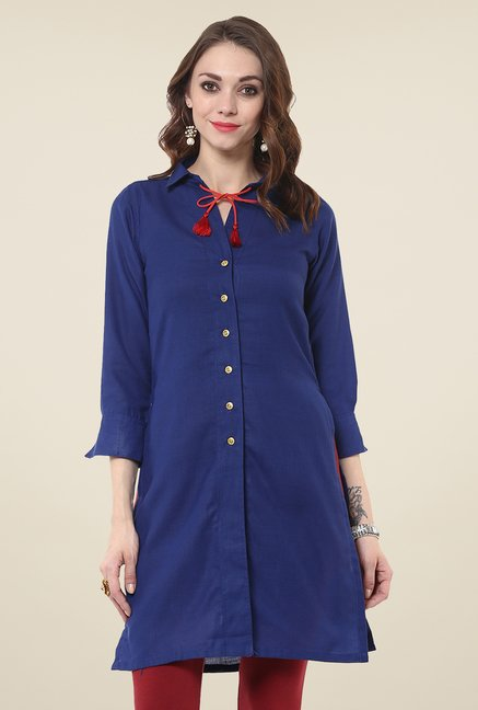 Yepme Royal Blue Button Down Kurti