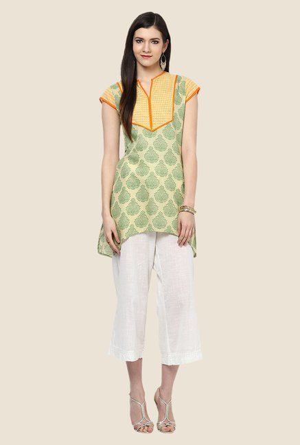Yepme Green & Yellow Asymmetrical Kurti