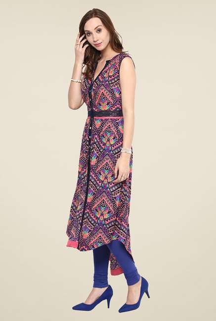 Yepme Multicolor Tribal Print Premium Sleeveless Kurti