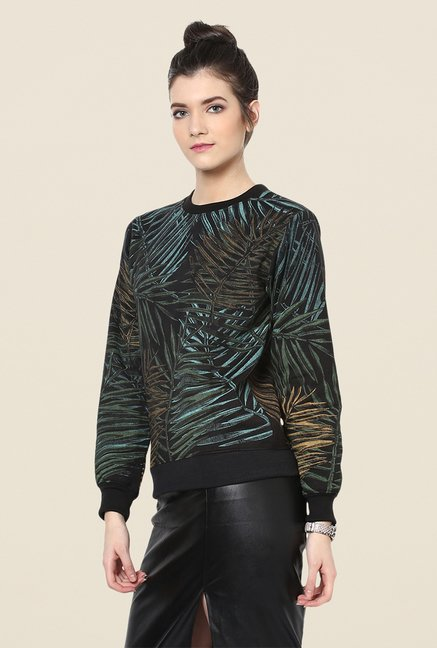 Yepme Roxy Black Printed Sweatshirt