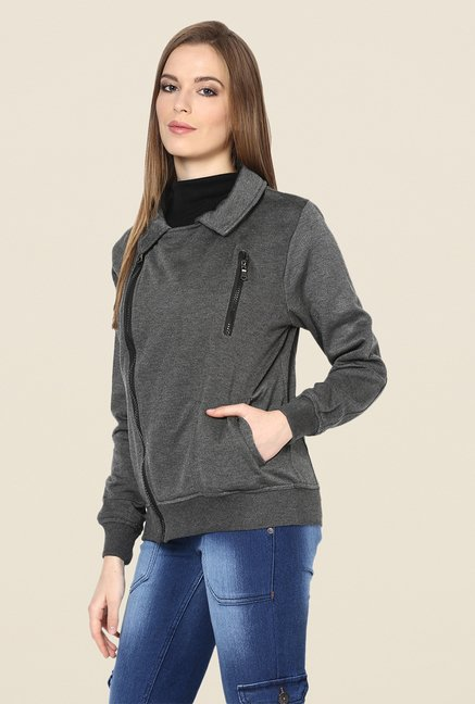 Yepme Stephy Grey Biker Sweatshirt