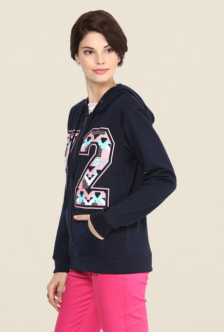 Yepme June Navy Graphic Print Hoodie