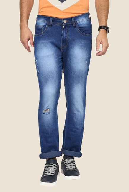Yepme Blue Keath Heavily Washed Jeans