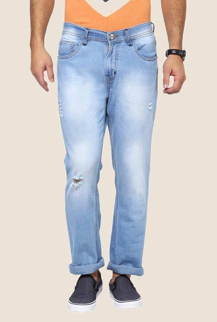 Yepme Light Blue Keath Heavily Washed Jeans