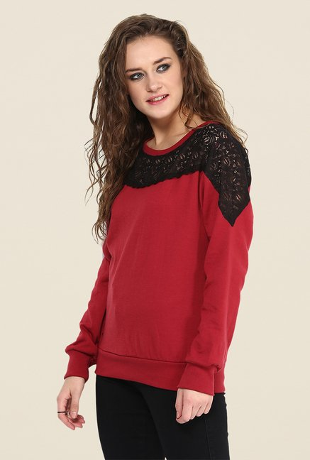 Yepme Jess Red Lace Sweatshirt