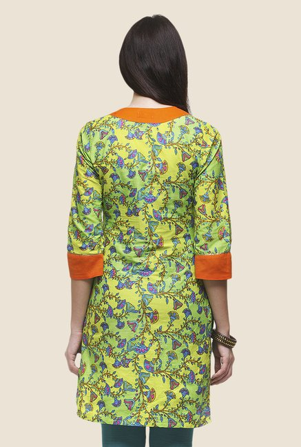 Yepme Lisette Green & Orange Printed Kurti