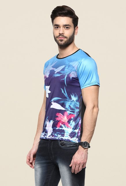 Yepme Blue Flora Digital Print T Shirt