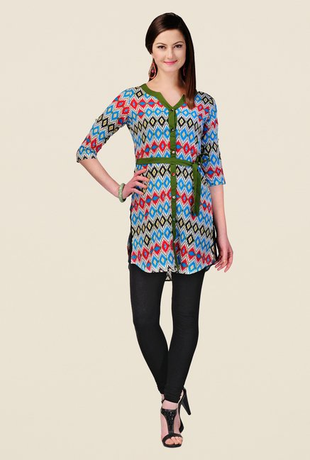 Yepme Sasha Blue & Red Printed Kurti