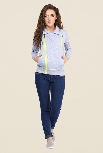 Yepme Stephy Light Grey Biker Sweatshirt