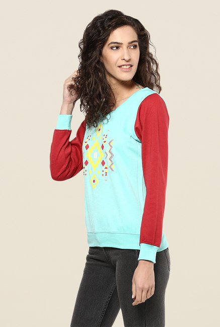 Yepme Carol Green & Red Sweatshirt