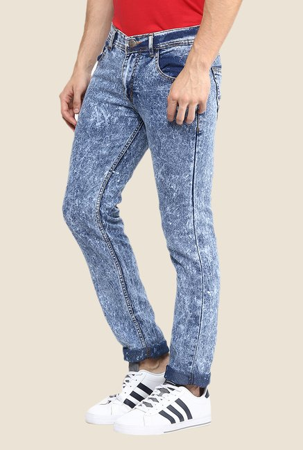 Yepme Blue Acid Wash Slim-fit Jeans