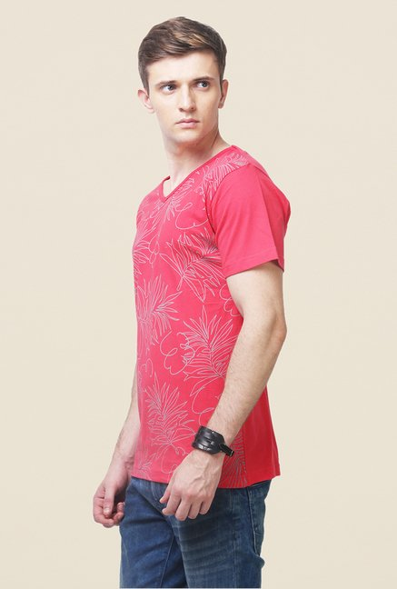 Yepme Red Jungle Tropical T Shirt