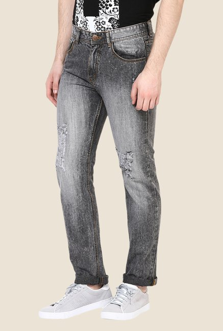 Yepme Black Brendan Heavily Washed Jeans