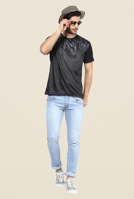 Yepme Black Feathers Graphic Print T Shirt