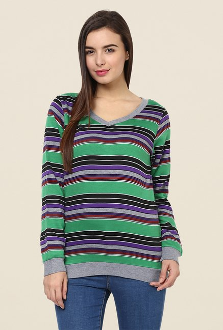 Yepme Rihanna Green Striped Sweatshirt