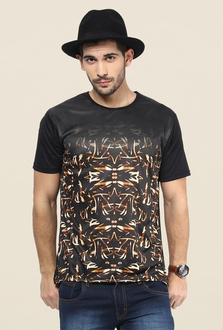 Yepme Black Fireworks Graphic Print T Shirt