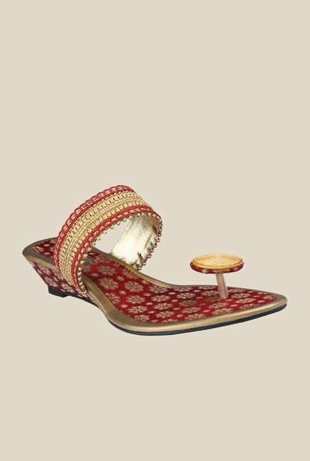 Cocoon Red & Gold Wedge Heeled Sandals