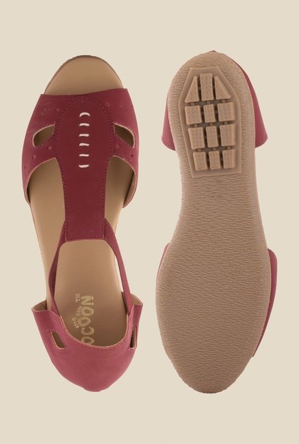 Cocoon Maroon T-Strap D'orsay Sandals