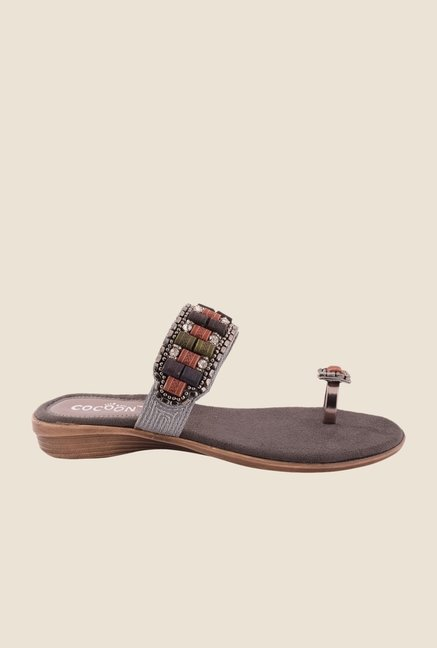 Cocoon Gun Metal Toe Ring Sandals