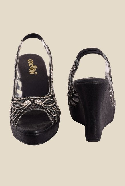 Cocoon Black & Silver Sling Back Wedges