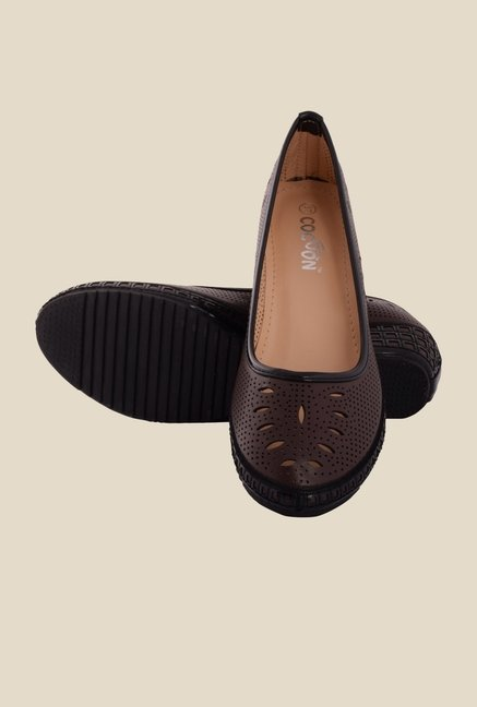 Cocoon Brown & Black Wedge Heeled Pumps
