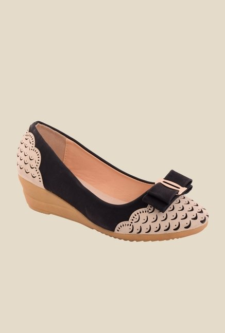 Cocoon Black & Beige Wedge Heeled Pumps