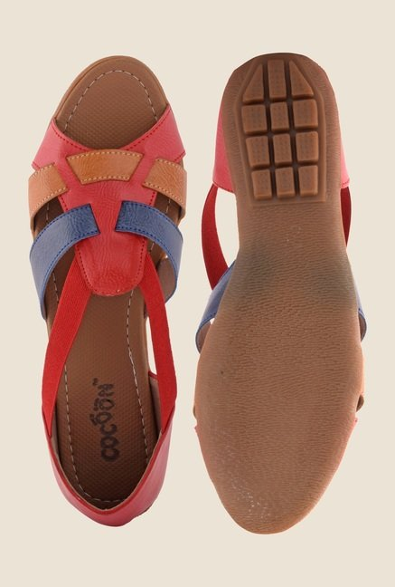 Cocoon Red & Brown Flat Sandals
