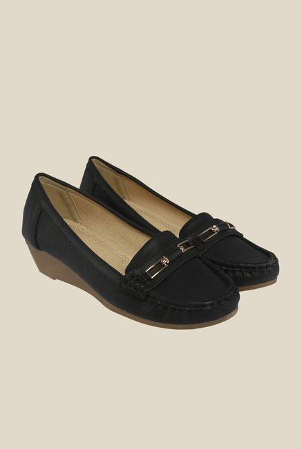 Cocoon Black Wedge Heeled Loafers