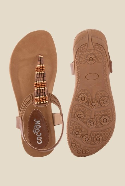 Cocoon Brown T-Strap Sandals