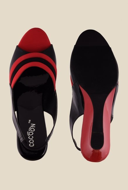 Cocoon Black & Red Sling Back Wedges